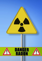 Danger of radon radioactive contamination - concept image with symbol of radioactivity