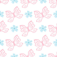 Ornament with flowers and butterflies drawn by hand. Cute seamless pattern.