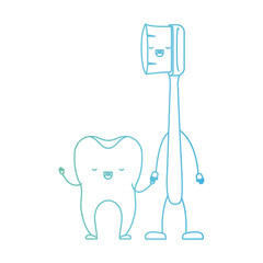 tooth and toothbrush in cartoon holding hands in degraded green to blue color contour