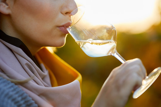 Close up of a woman tasting a glass of white wine in autumn vineyard