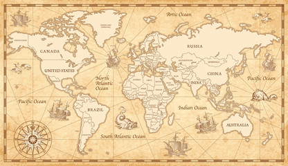 Fotorolgordijn Schip Old Vintage World Map