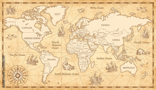 Old vintage world map stock image and royalty free vector files on old vintage world map gumiabroncs Gallery