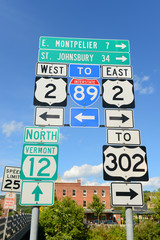 Road Sign of Interstate Highway 89, US route 2, Vermont route 12 in Montpelier, Vermont, USA.