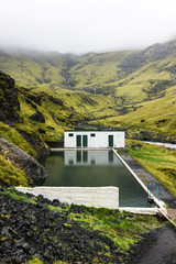 The abandoned geothermal pool of Seljavellir in Iceland
