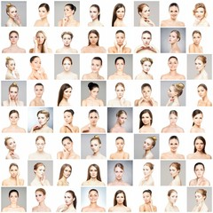 Collection of female spa portraits. Faces of different women. Face lifting, skincare, make-up concept.