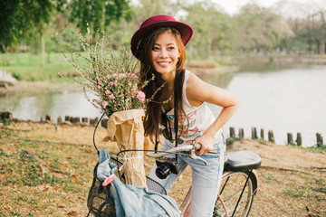 Beautiful Tourist on Bicycle