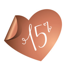 15% Aufkleber Herz Kupfer