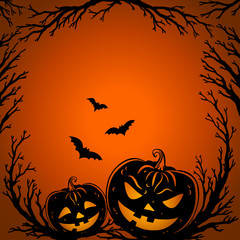 Halloween background. Scary tree twigs, flying bats and halloween pumpkin lanterns on orange background. Halloween Party design template. Vector.