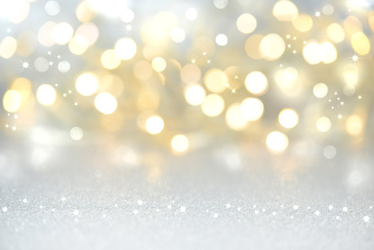 christmas background - gold and silver lights