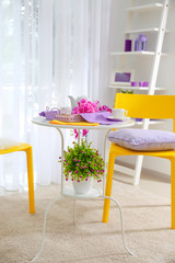 Interior of light modern room with lilac tints