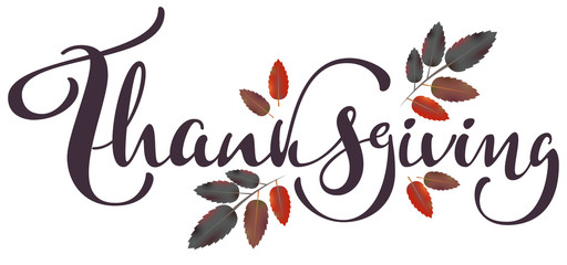 Thanksgiving calligraphy text and autumn aspberry leaf for greeting card