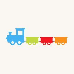 Train toy. Cartoon train. Children's toy. Train with blocks. Vector stock.