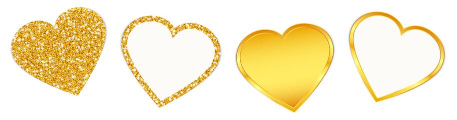 4 Hearts Sparkling Shining Golden