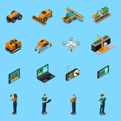 Agricultural Robots Isometric Icons