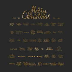 Merry Christmas brush lettering typography. 50 winter vector handdrawn lettering.