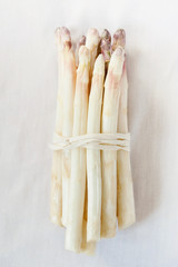 Bunch of White Asparagus with Purple Asparagus Heads