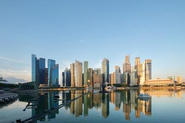 Singapore skyline business urban morning sunrise,Singapore cityscape