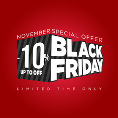 Black friday banner 3d, special offers and discounts