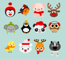 Vector illustration set of winter cute animals in Christmas costumes and elements. Happy in winter and christmas animals in cartoon flat style.