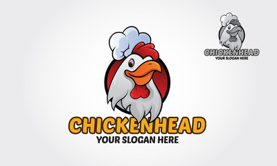 A cartoon chicken mascot wearing a chef hat