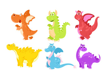 Vector illustration set of colorful funny dinosaurs in cartoon flat style.
