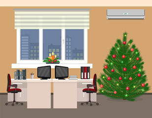 Office room interior including christmas design in two work spaces. Xmas holidays in company office.