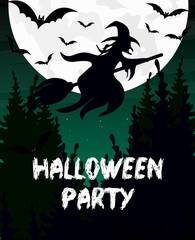 Vector illustration Halloween party invitation or greeting card. Witch silhouette, broomstick, bat and moon are dark sky background.