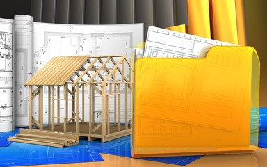3d of frame house construction