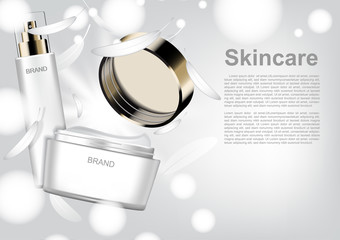 Cosmetic product with white feathers and shining light