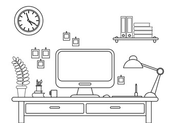 Vector illustration of desk with a computer. Workplace in office or at home line style on white background.