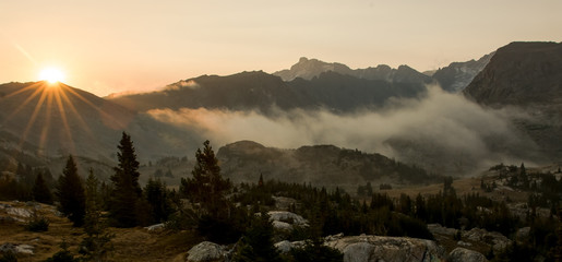 Sunrise and fog in the mountains of Wyoming