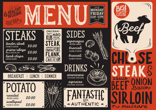 Steak menu restaurant, food template.