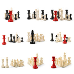 black and white chess pieces isolated