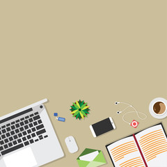 Top view of table working and working desk and free space for text with accessory on the table, laptop, notebook, phone, flash drive, pen, coffee cup, letter, flowerpot, note