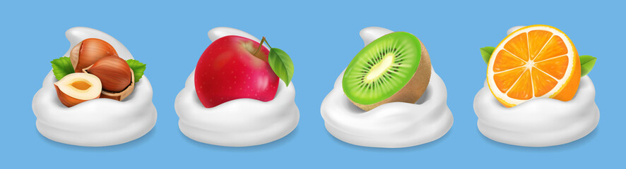 Fruit nuts in yogurt. Hazelnuts, kiwifruit, red apple, orange realistic vector icon