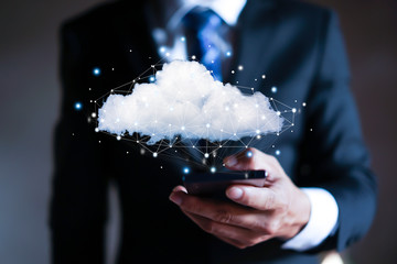 Cloud computing concept - connect to cloud. Businessman or information technologist. Wall mural