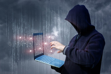 An attacker on the laptop attack a network.