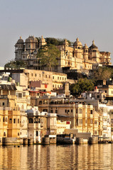 Udaipur cityscape from Lake Pichola