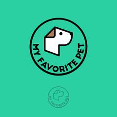 Pet shop logo. Food for dogs emblem. Goods for pets. Вog's face and letters in orange badge.
