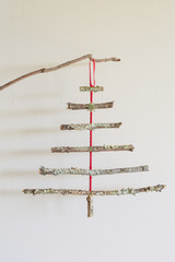 Christmas tree made of lichen covered twigs