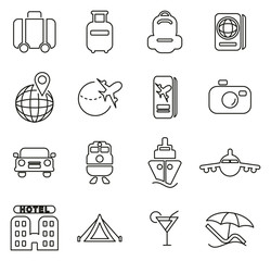 Travel Icons Thin Line Vector Illustration Set