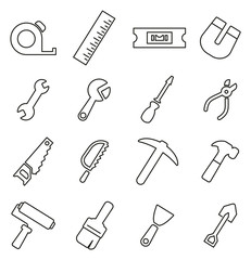 Tools Icons Thin Line Vector Illustration Set