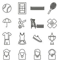 Tennis Sport or Tennis Match Icons Thin Line Vector Illustration Set