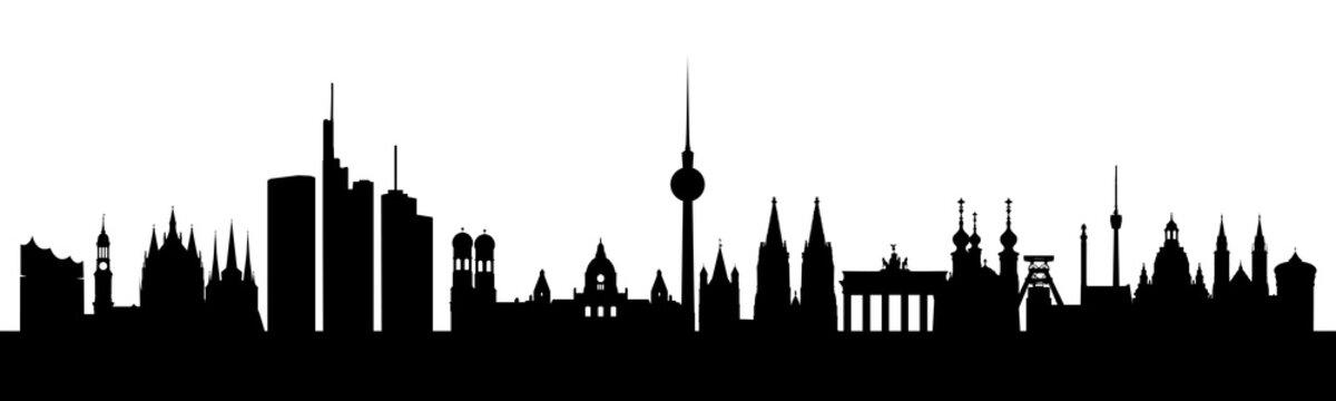 Deutschland Skyline und seine wichtigsten Wahrzeichen.