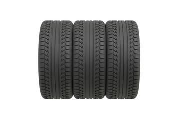 Three tyres on white background