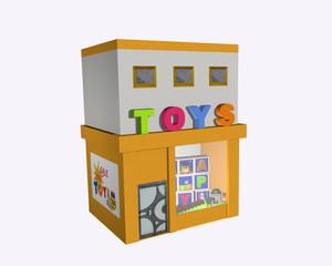 Spielzeuggeschäft, seitliche Ansicht auf weiß isoliert
