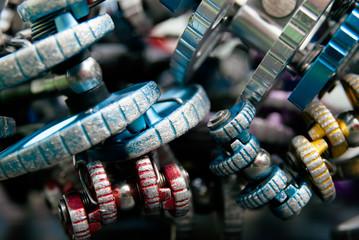 Close up view of climbing cams set