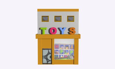 Spielzeuggeschäft auf weiß isoliert