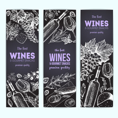 Wines and gourmet snacks banner collection. Gourmet food set vector illustration. Local wines and gourmet snacks shop design template.
