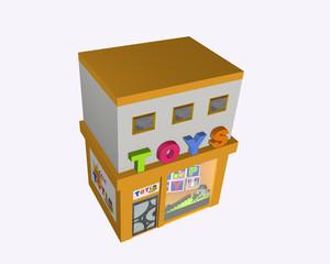 Spielzeuggeschäft, Ansicht von oben, auf weiß isoliert